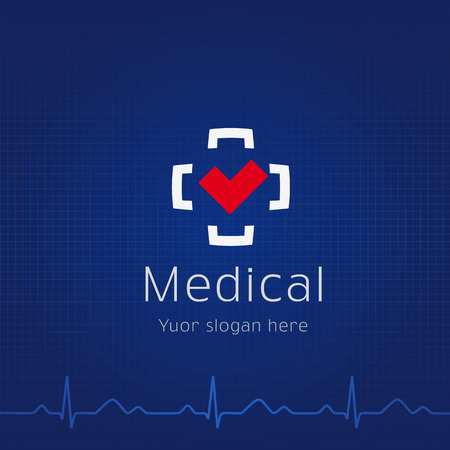 Medical plus logo and folder. Outpatient card cover design or presentations slide with brand identity sign. Icons idea for hospitals, tests, clinics, pharmacies. Vector cardio waves.
