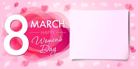 Mujeres felices 8 de marzo Día de la bandera. Plantilla de la tarjeta de felicitación del día de Mujeres 8 de Marzo con corazones de vectores de color rosa y en el fondo de papel Ilustración de vector