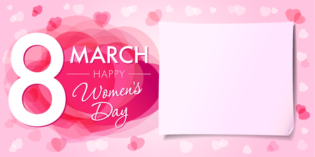 Happy Womens day 8 march banner. 8 March Womens Day greeting card template with vector pink hearts and paper on background Illustration