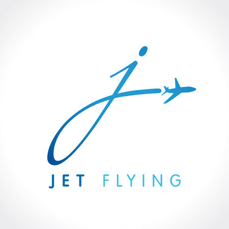 J letter jet travel company logo. Airline business travel logo design with letter J. Fly travel vector logo template