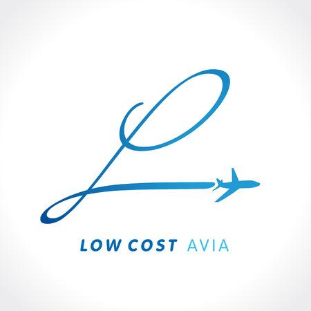 """L brief reizen low cost bedrijfslogo. Luchtvaartmaatschappij zakenreizen logo design met de letter """"l"""". Vlieg reizen vector logo template Stock Illustratie"""