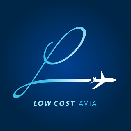 jetliner: Airline business travel logo design with letter l on navy blue background. L letter low cost air company logo. Fly travel vector logo template