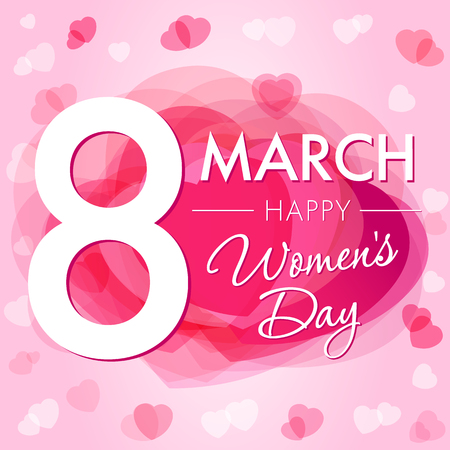 8 March Happy Womens day hearts card. 8 March Women's Day greeting card template with vector pink hearts on background 向量圖像