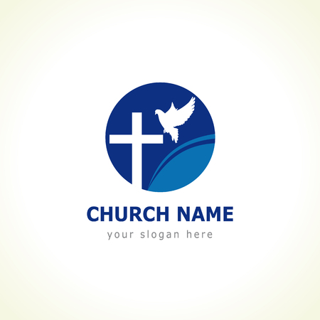 Christian church vector logo. Blue colored circle, crucifix, white flying dove, wave. Religious educational symbol.
