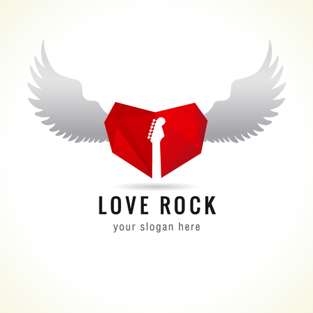 Love rock logo. Red glass heart flying, guitar, wings, brand idea. Musics vector sign. Art events and tours symbol. Rock n roll icon.