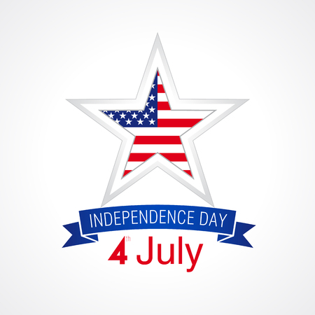 Independence day USA vector card. 4 th of july traditional celebrating greetings, united states national holiday sign with flag print star on white background. Illustration
