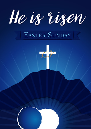 Easter sunday holy week calvary tomb banner. Easter christian motive, vector invitation to an Easter Sunday service with text He is risen on a background of rolled away from the tomb stone of Calvary Ilustrace