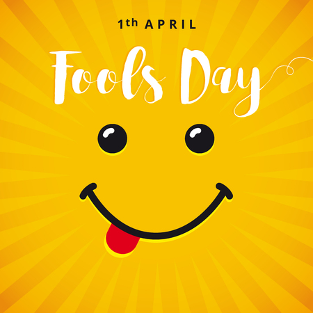 April Fools Day smile card. April Fools Day text and vector illustration of a smiling face. 1 April Fools Day