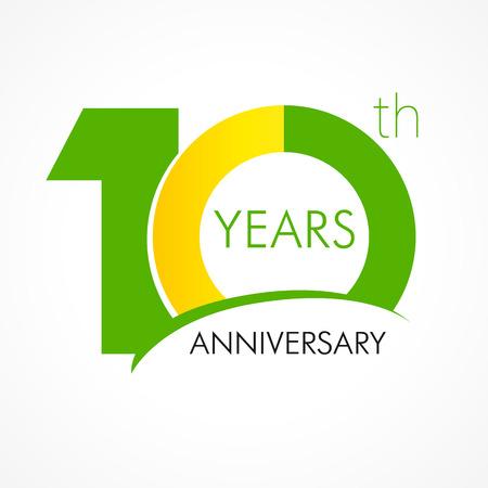 10 年古い古典的なロゴを祝います。10 th ベクトル テンプレートの記念の年。誕生日の挨拶を迎えます。ジュビリー年齢の従来の数字です。色付きの  イラスト・ベクター素材