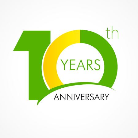 one year old: 10 years old celebrating classic logo. Anniversary year of 10 th vector template. Birthday greetings celebrates. Traditional digits of jubilee ages. Colored letter O.