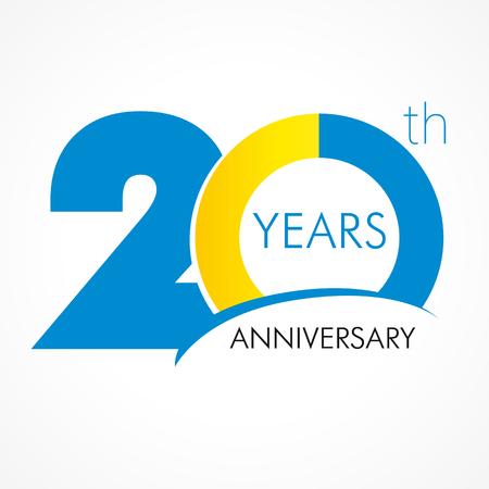 20 jaar oud klassiek logo vieren. Jubileum jaar van 20e vector sjabloon. Verjaardag groeten vieren. Traditionele cijfers van jubileumtijden. Gekleurde letter O.