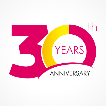 30 years old celebrating classic logo. Anniversary year of 30 th vector template. Birthday greetings celebrates. Traditional digits of jubilee ages. Colored letter O.