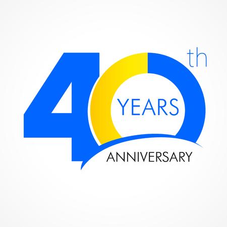 40 jaar oud klassiek logo vieren. Jubileum jaar van 40 e vector sjabloon. Verjaardag groeten vieren. Traditionele cijfers van jubileumtijden. Gekleurde letter O.