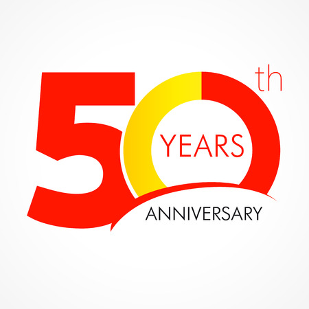 50 years old celebrating classic logo. Anniversary year of 50 th vector template. Birthday greetings celebrates. Traditional digits of jubilee ages. Colored letter O.