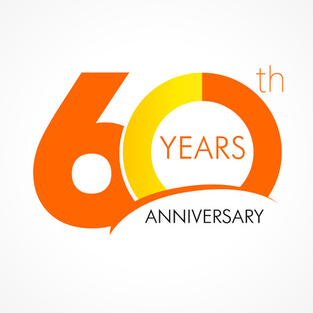 60 years old celebrating classic logo. Anniversary year of 60 th vector template. Birthday greetings celebrates. Traditional digits of jubilee ages. Colored letter O.