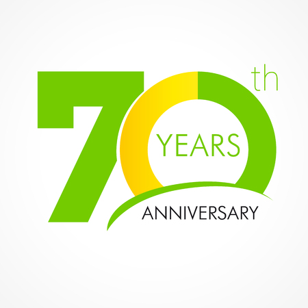 70 years old celebrating classic logo. Anniversary year of the 70 th vector template. Birthday greetings celebrates. Traditional digits of jubilee ages. Colored letter O. Vettoriali