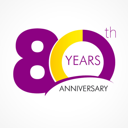 eight year old: 80 years old celebrating classic logo. Anniversary year of 80 th vector template. Birthday greetings celebrates. Traditional digits of jubilee ages. Colored letter O.