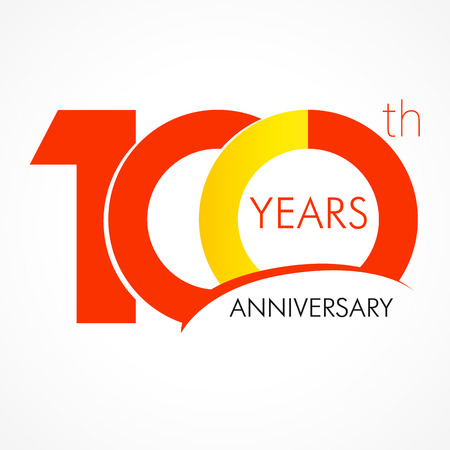 100 years old celebrating classic logo. Anniversary year of 100 th vector template. Birthday greetings celebrates. Traditional digits of jubilee ages. Colored letter O. Stok Fotoğraf - 73588309