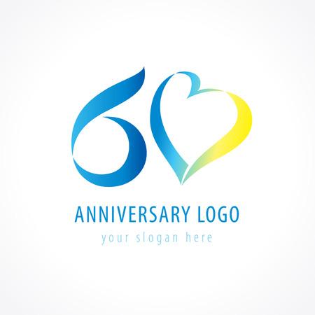 Anniversary 60 years old hearts celebrating vector digit logo. Illustration