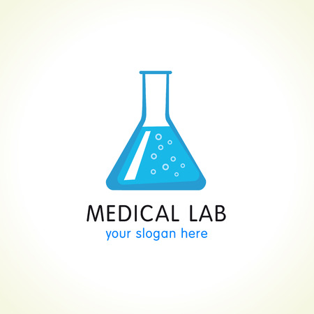 researches: Medical lab logo. Blue water in laboratory flask. Vector branding sign of tests and science researches. Illustration