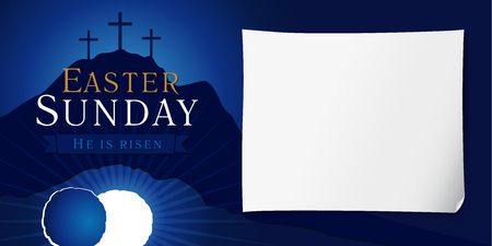 Easter sunday holy week poster. Easter christian motive, vector invitation to an Easter Sunday service with text He is risen on a background of rolled away from the tomb stone of Calvary Ilustrace