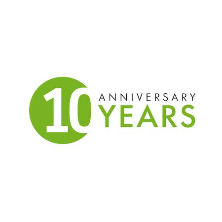로고 라운드 10 년. 10 번째 벡터 기념일 년 벡터 배너 번호. 생일 인사말은 기념합니다. 자리를 축하. 나이의 색깔의 인물.