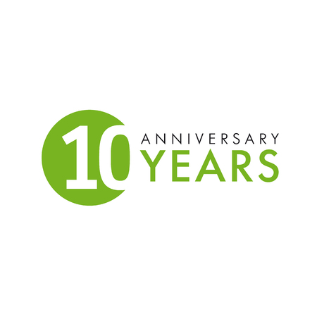 10 years old round logo. Anniversary year of 10 th vector banner numbers. Birthday greetings circle celebrates. Celebrating digits. Colored figures of ages. Vectores