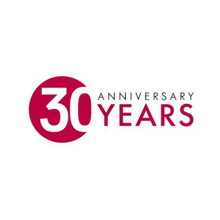 30 歳のラウンドのロゴ。30 th ベクター バナー数の記念の年。誕生日のご挨拶円を迎えます。桁を祝っています。年齢の千代紙。