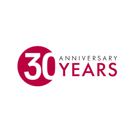 30 years old round logo. Anniversary year of 30 th vector banner numbers. Birthday greetings circle celebrates. Celebrating digits. Colored figures of ages.