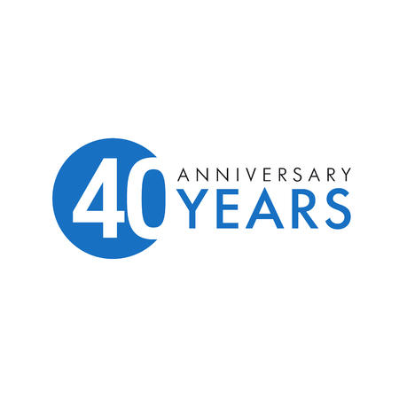 40: 40 years old round logo. Anniversary year of 40 th vector banner numbers. Birthday greetings circle celebrates. Celebrating digits. Colored figures of ages.