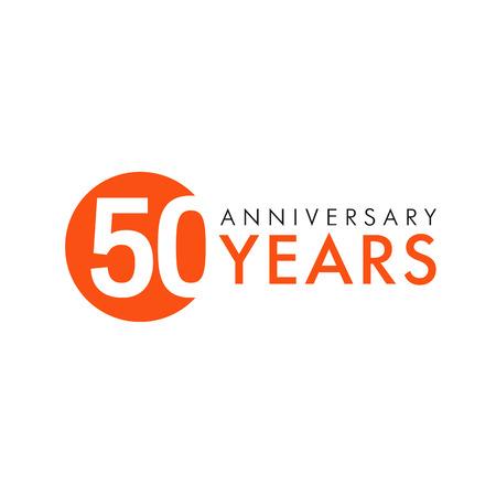 50 jaar oud rond logo. Jubileumjaar van 50ste vectorbanneraantallen. Verjaardag groeten cirkel viert. Vieren cijfers. Gekleurde figuren van leeftijden.