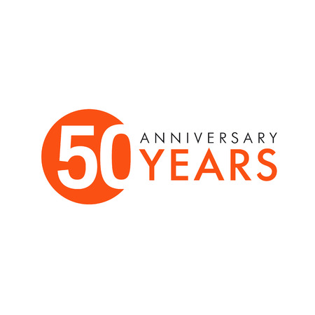 50 years old round logo. Anniversary year of 50 th vector banner numbers. Birthday greetings circle celebrates. Celebrating digits. Colored figures of ages.
