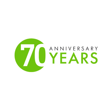 70 years old round logo. Anniversary year of the 70 th vector banner numbers. Birthday greetings circle celebrates. Celebrating digits. Colored figures of ages. Illustration