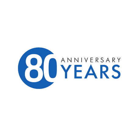eight year old: 80 years old round logo. Anniversary year of 80 th vector banner numbers. Birthday greetings circle celebrates. Celebrating digits. Colored figures of ages.