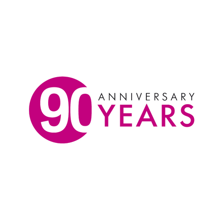 nine year old: 90 years old round logo. Anniversary year of the 90 th vector banner numbers. Birthday greetings circle celebrates. Celebrating digits. Colored figures of ages.
