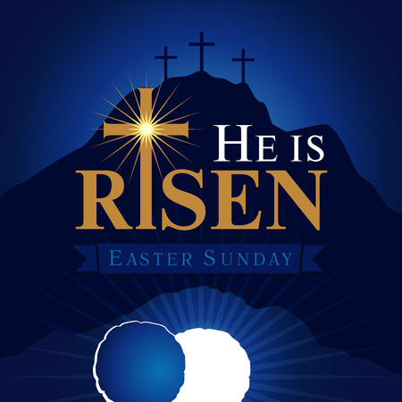 He is risen navy blue card. Easter christian motive, with text He is risen on on a background of rolled away from the tomb stone of Calvary
