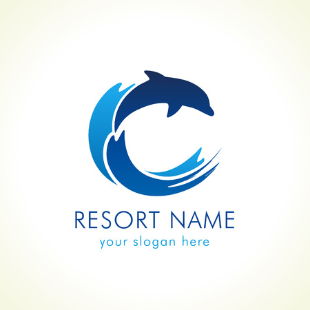 Dolphin jumps above waves. Spa, sport, travel vector logo. Branding identity for hotels, tourist business, spa, beach service, healthcare, holidays, resorts or hotel by the ocean. C name symbol.