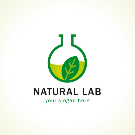 researches: Natural lab logo. Green liquid, leaves in laboratory testing flask. Vector branding sign of tests, cosmetics, make up. Scientific or environmental researches. Healthy life. Pharmaceutical companies.