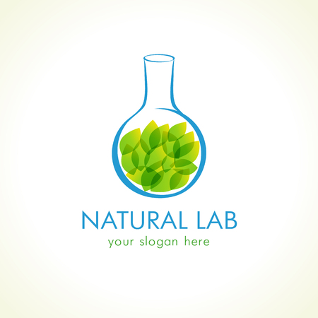 phytology: Natural lab logo Green leaves in testing flask Vector branding sign of tests, cosmetics, chemists.