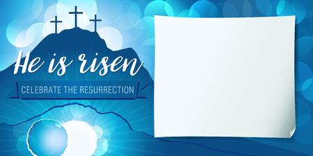 こんにちは上がった聖週間ポスターです。イースター キリスト教動機、ベクトル招待状本文と復活祭の日曜日サービスの背景によみがえったのだが