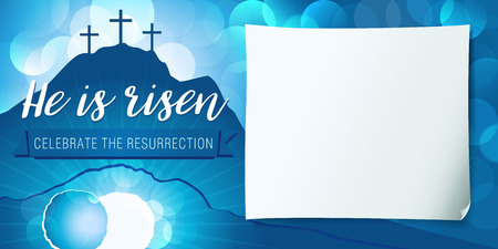 Hi is risen holy week poster. Easter christian motive, vector invitation to an Easter Sunday service with text He is risen on a background of rolled away from the tomb stone of Calvary 일러스트