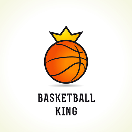 Basketball vector logo. Branding symbol of teams, national competitions, union, matches, leagues or sport equipment shop. Childrens schools, kids sport clubs or juniors tour icon.