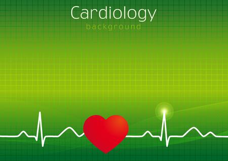 Fondo de la carpeta médica. Diseño de cubierta de tarjeta para pacientes ambulatorios en tamaño de papel estándar o diapositiva de presentación. Idea de iconos para hospitales, exámenes, clínicas, farmacias. Vector de ondas cardiovasculares. Gráfico de latidos del corazón.