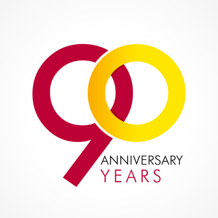 90th: 90 years old celebrating classic logo. Anniversary year of the 90 th vector template. Birthday greetings celebrates. Traditional digits of jubilee ages. Colored letter O.