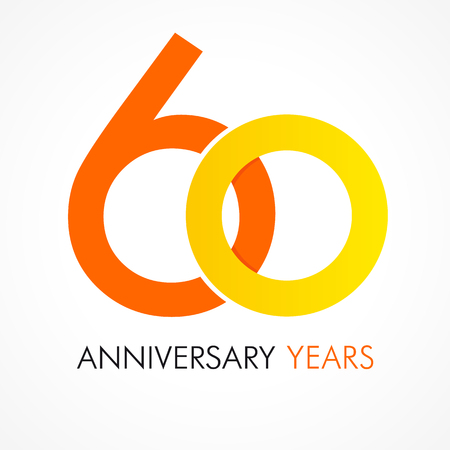 60 years old celebrating classic logo. Anniversary year of 60 th vector template. Birthday greetings celebrates. Traditional digits of jubilee ages. Colored letter O