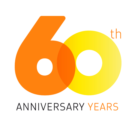 60 years old celebrating classic logo. Anniversary year of 60 th vector numbers. Birthday greetings celebrates with transparency. Traditional digits of jubilee ages. Colored letter O.