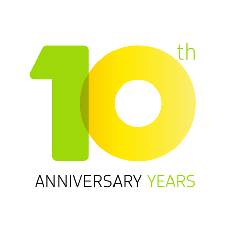 10 years old celebrating classic logo. Anniversary year of 10 th vector numbers. Birthday greetings celebrates with transparency. Traditional digits of jubilee ages. Colored letter O.