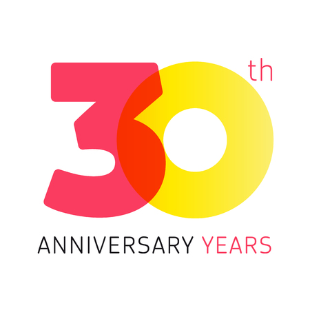 30 years old celebrating classic logo. Anniversary year of 30 th vector numbers. Birthday greetings celebrates with transparency. Traditional digits of jubilee ages. Colored letter O.