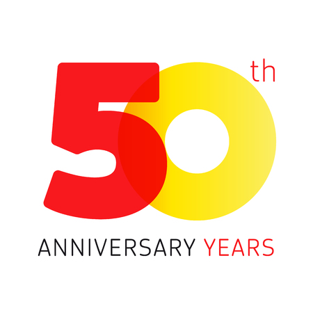 50 years old celebrating classic logo. Anniversary year of 50 th vector numbers. Birthday greetings celebrates with transparency. Traditional digits of jubilee ages. Colored letter O. Ilustração