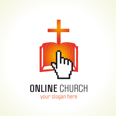 ministry: Christian online church vector logo template. Red colored crucifixion, e book or e bible sign, pointing or pressing pixel hand, radio waves. Religious educational symbol. Holy bible learning and teaching unity idea.
